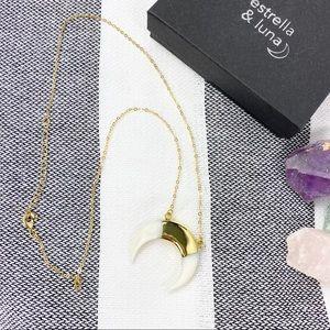 Estrella & Luna White Shell Horn 14k Gold Necklace